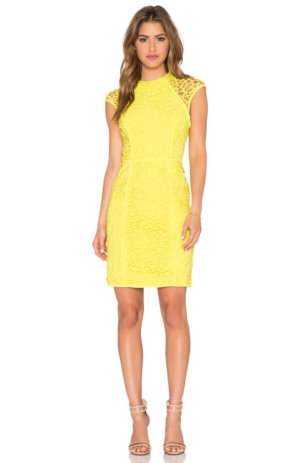 PYGFind of the Day Yellow Lace Sheer Cap Sleeve Dress by