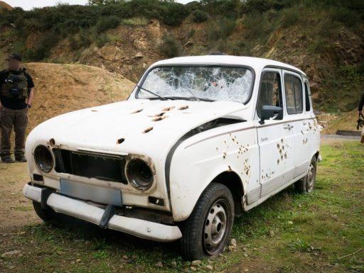 Epave de véhicule utilisée pour le test du ResqMe
