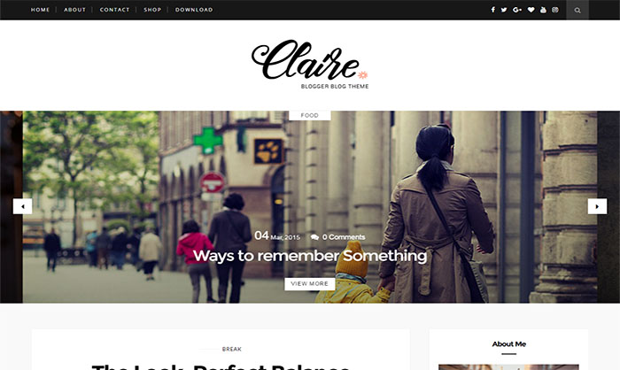 Claire Blogger Template