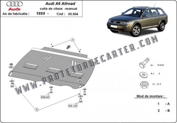 Protetor de caixa de velocidades manual de aço Audi Allroad