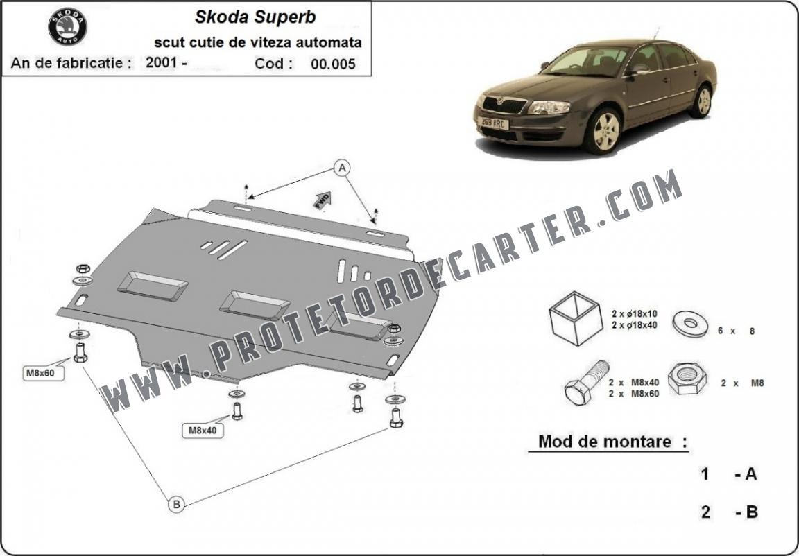 Protetor de caixa de velocidades automática de aço Skoda