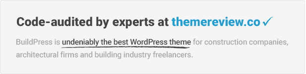 BuildPress passed themereview.co theme review