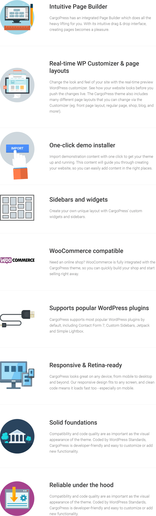 CargoPress features