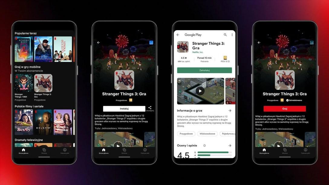 Screenshots of Netflix's mobile app and gaming platform.