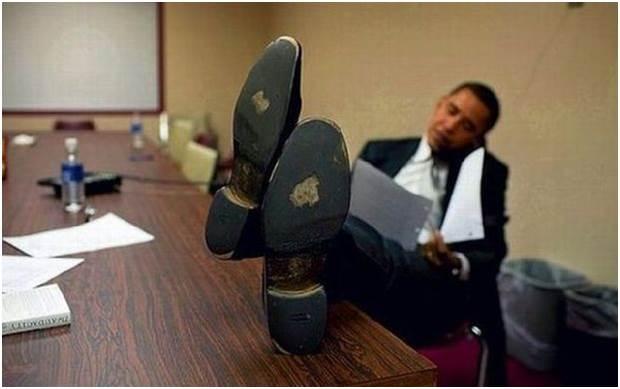 Obama zapatos desgastdos