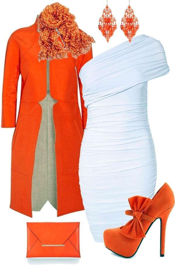 Combinar una prenda de color naranja