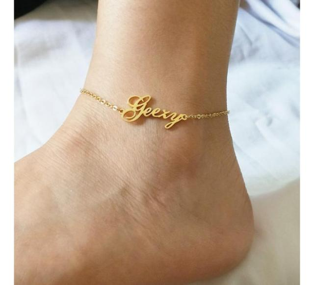 Customized Golden Single Name Anklet