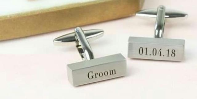Customized Single Name Silver Cuff-links
