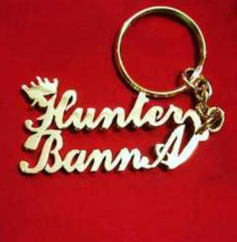 Customized Golden Double Name Keychain