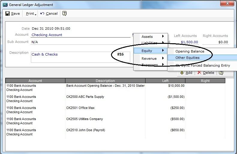 Bank Account Opening Balances