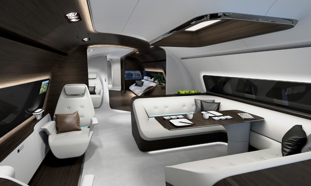 lufthansa flugzeug jet privatjet luxus kabine inneneinrichtung design flugzeugkabine