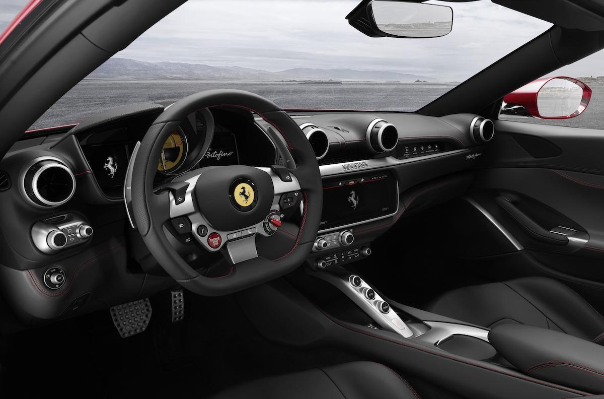 ferrari portofino cabrio cabriolet hard-top gt v8 motoren turbo achtzylinder beschleunigung technologie innenraum