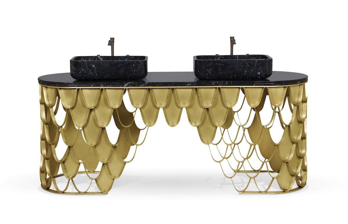 luxury bathroom bathrooms luxurious design high-end modern exclusive washbasins bathtubs brass contemporary