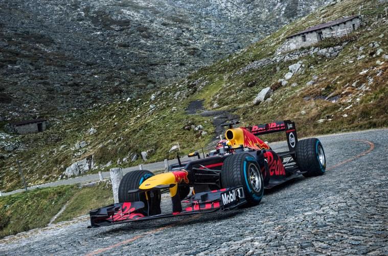 formula-1 formula 1 racing car red bull red-bull-racing amazing stunts stunt drive motorsport gotthard pass switzerland road