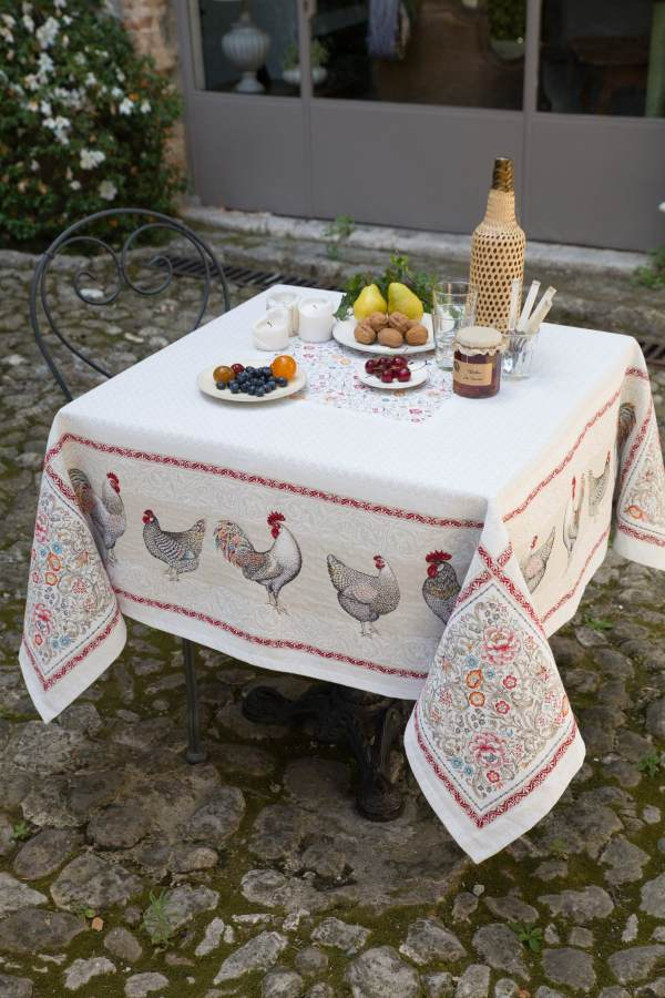 Country Rooster French Provence Jacquard Woven Tapestry