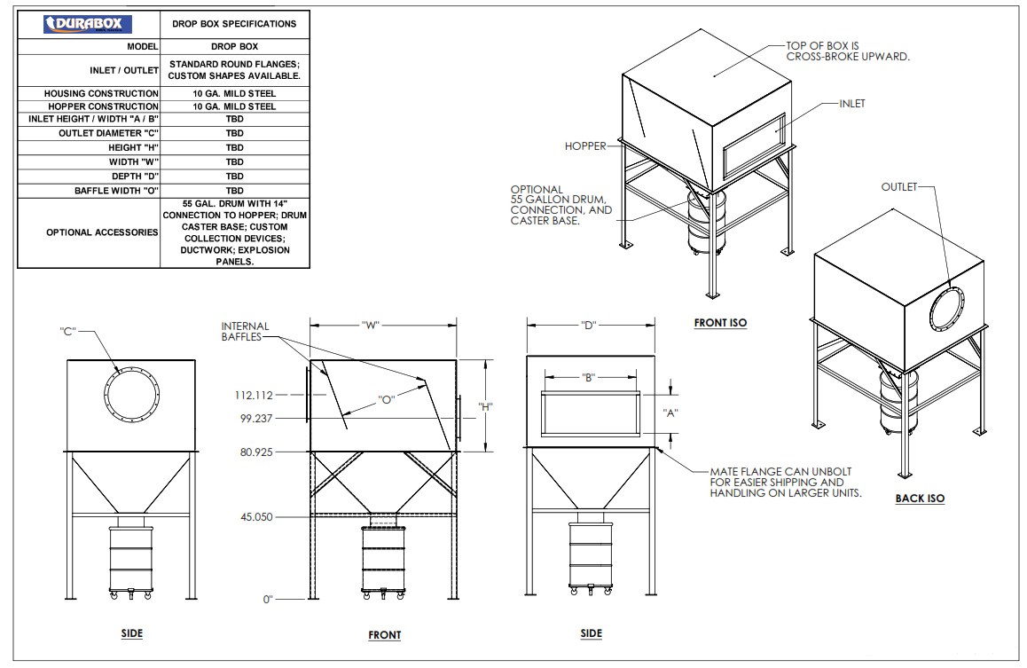 Drop Out Box for Heavy Loading Dust Collection