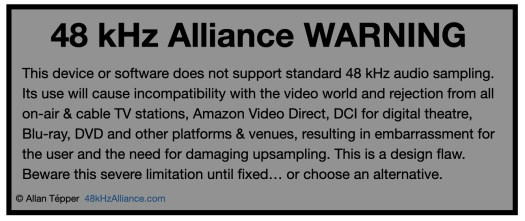 48 kHz Alliance Warning label is born 3