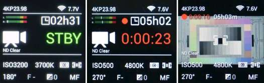 Z Cam display: status in standby; status in recording; preview in recording