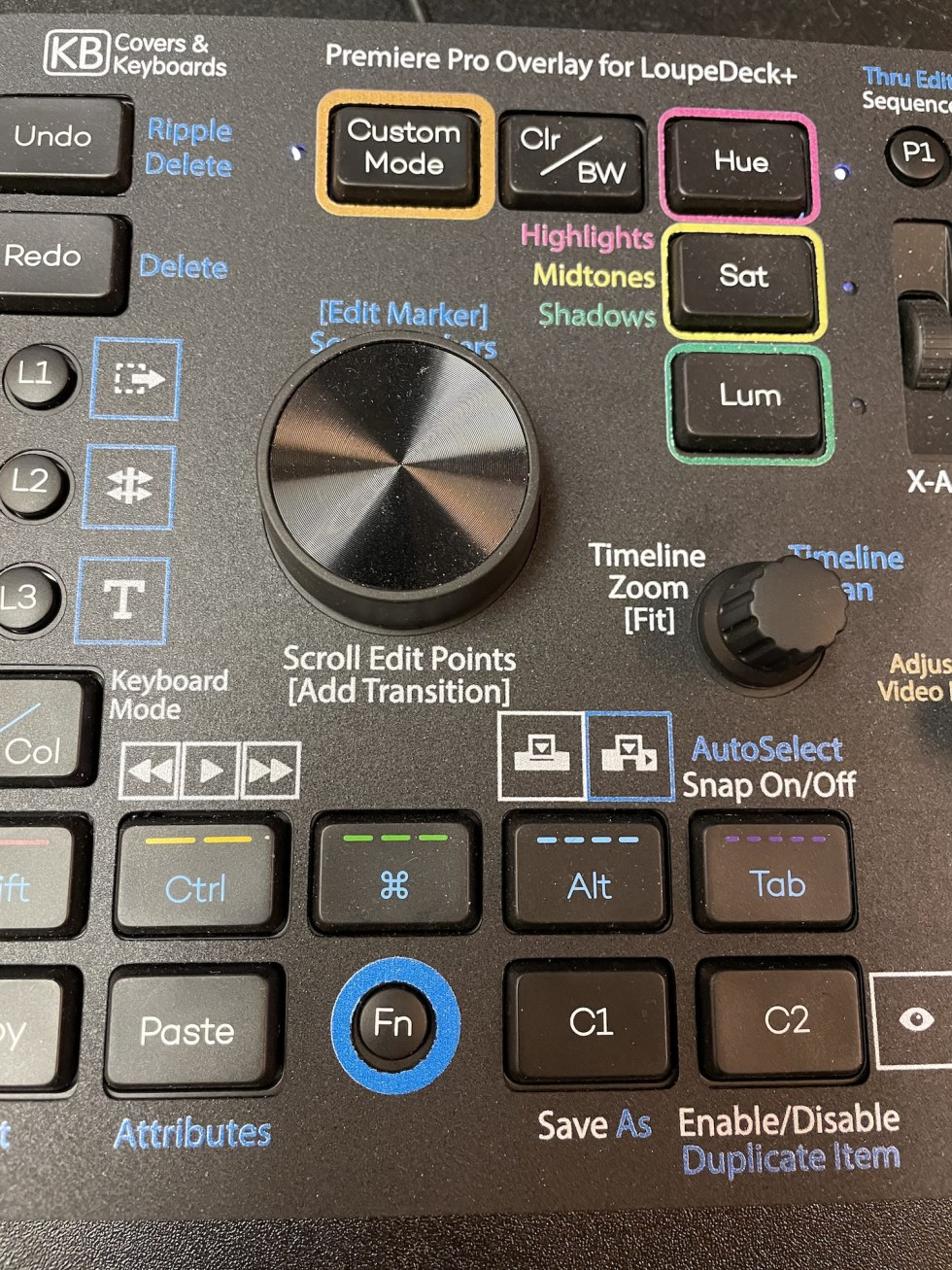 Custom video editing overlays for the Loupedeck+ control surface 3
