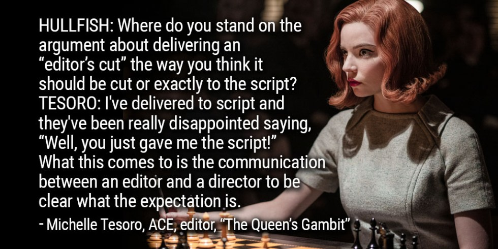 """ART OF THE CUT with Michelle Tesoro, ACE on editing """"The Queen's Gambit"""" 9"""