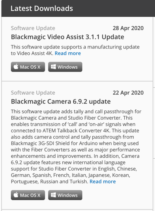 Blackmagic Design Support Page