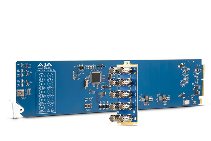 AJA OG-12GDA-2x4: an openGear 12G-SDI distribution amplifier