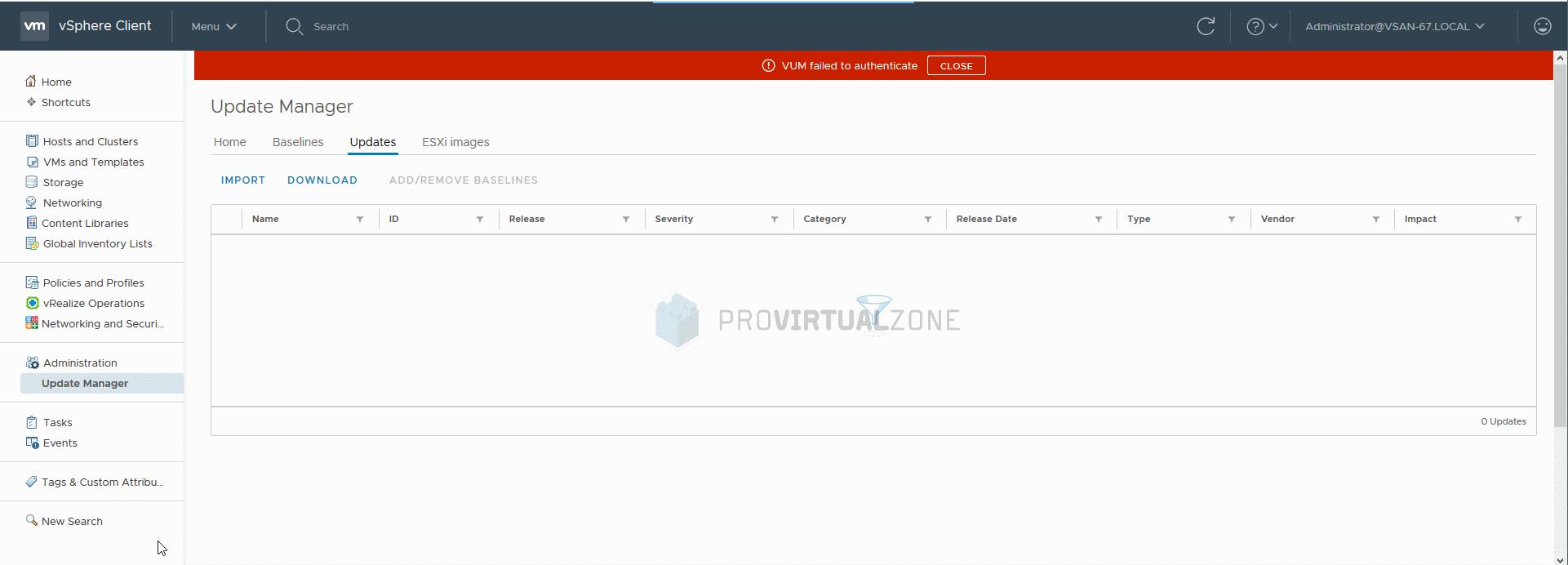 vSphere Client 6 7 VUM failed to authenticate