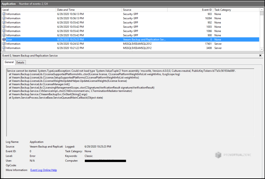 Veeam Backup Service did not start after the Windows Server upgrade