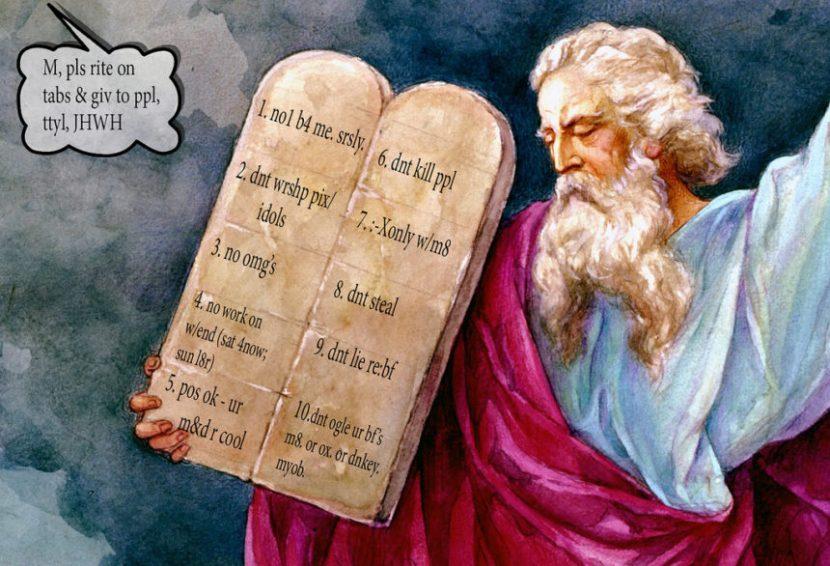 10 commandments, modern times, moses, god, funny