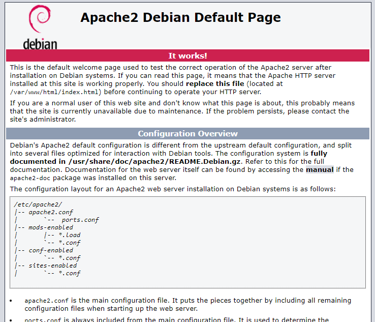 checking apace server is running or not on ubuntu 18.04 or debian 10