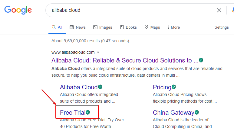 Search for Alibaba Cloud Free Trial for 12 Months or 1 Year