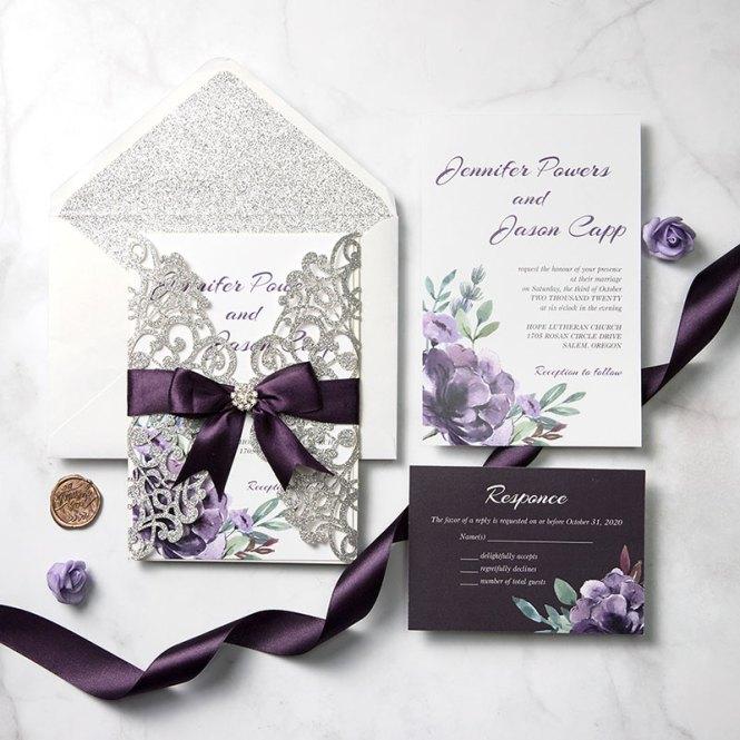 Plum And Mauve Elegance Silver Glitter