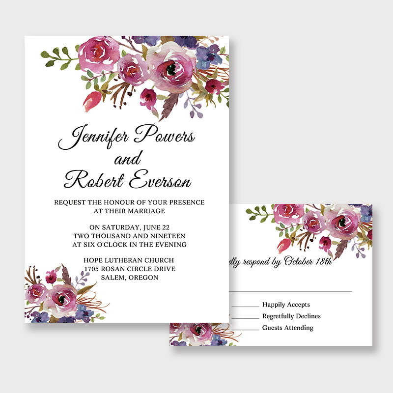 spring magenta shades of purple wedding invitations pwif065 pro wedding invites