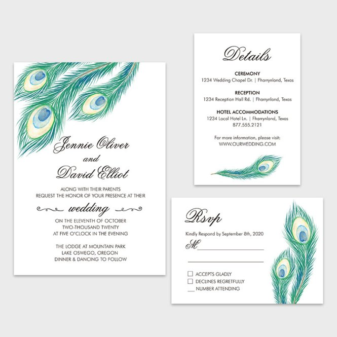 Teal Pea Feather Wedding Invitation