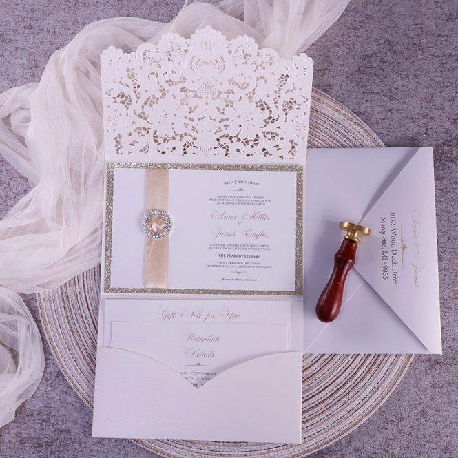 Champagne Gold Glittery Pocket Wedding