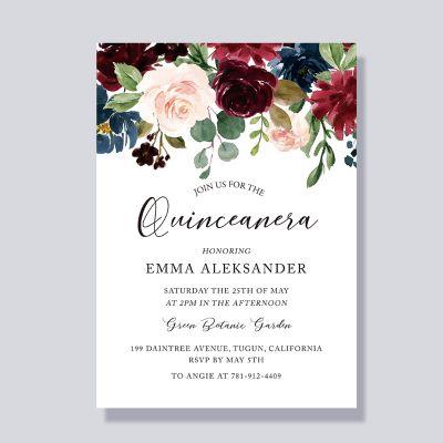 rustic flowers blooms quinceanera 15 birthday invitations pwiq006 pro wedding invites
