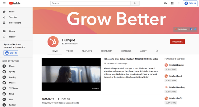 Example of content distribution Video Youtube Hubspot