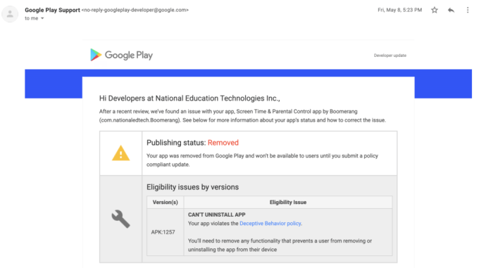 Parental control app Boomerang repeatedly blocked from Play Store, losing business – ProWellTech