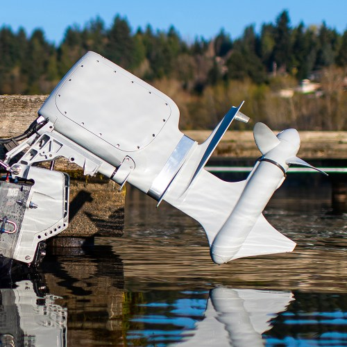 Pure Watercraft's electric outboard motor has been lifted out of the water
