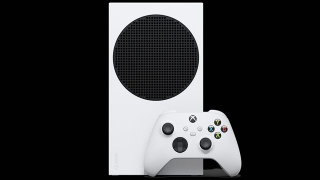 Official picture of the Xbox series S with front panel with controller