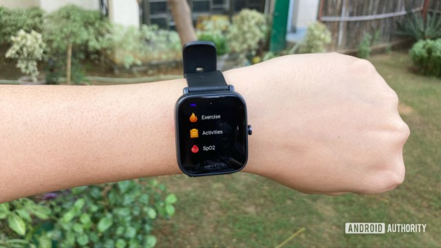 Amazfit Bip U on the wrist with SpO2 function