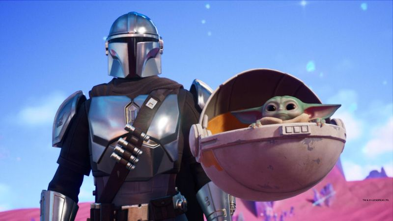 Fortnite season 5 features The Mandalorian, Baby Yoda and hunters from other realities