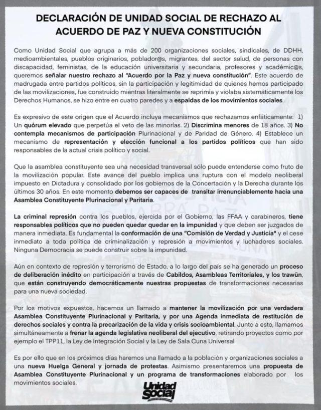 Declaración Unidad Social de rechazo a Acuerdo por la Paz y Nueva Constitución