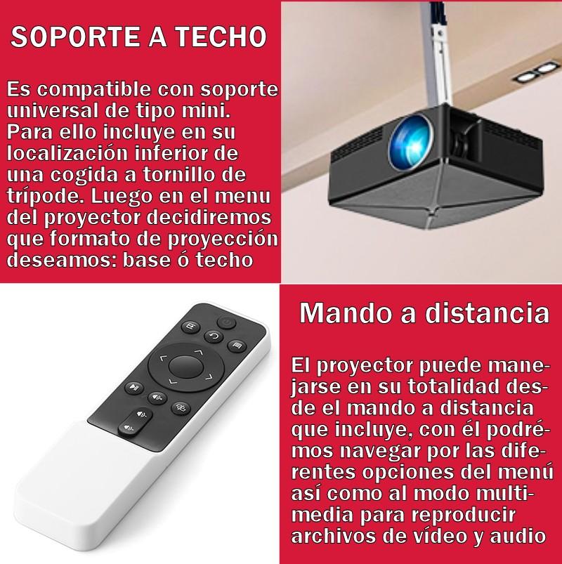 compatible con instalaciones a techo o base, gracias a su tornillo inferior con rosca de trípode podemos ubicar el proyector al techo