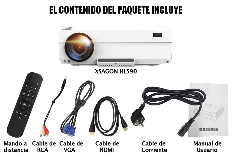 El contenido del paquete incluye: proyector XSAGON HL590, cable de hdmi, cable de av, cable de vga, mando a distancia, manual de usuario