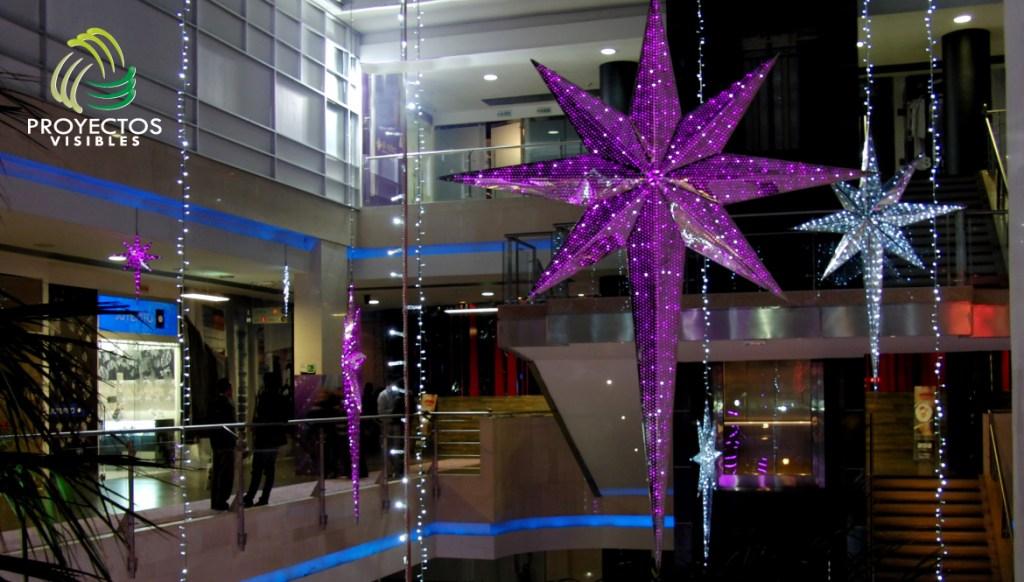 Estrella led 8 puntas en aluminio con iluminación interna tipo mini light