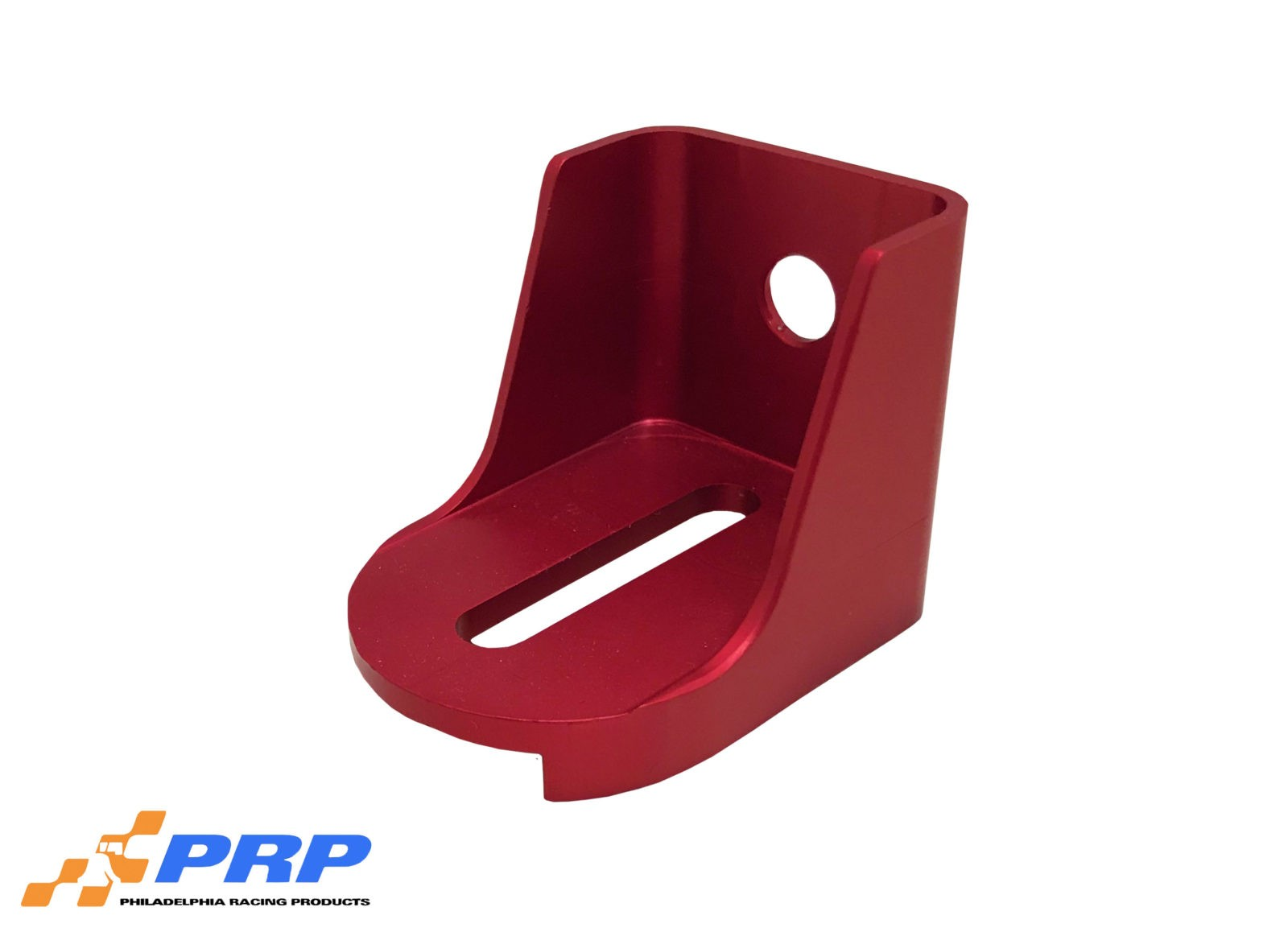Red anodized Lokar Kickdown Detent Cable Brackets made by PRP Racing Products