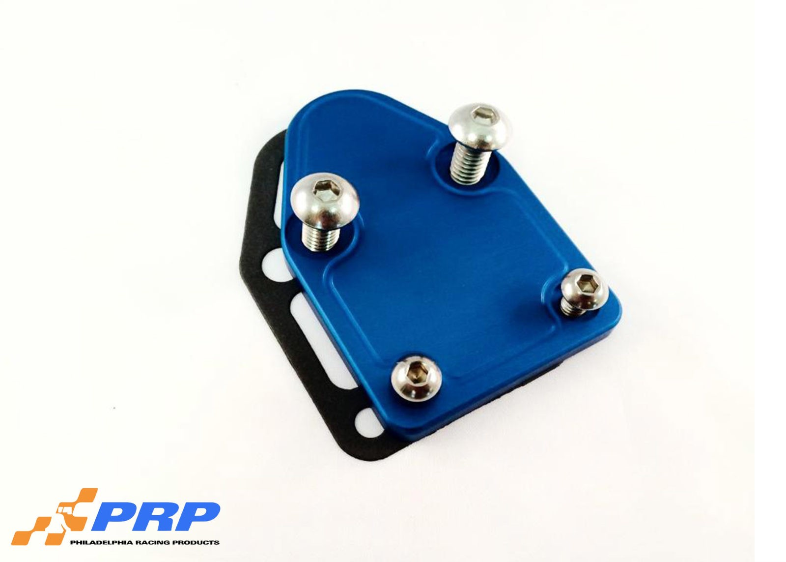 Blue SBC Fuel Pump Block-off Plate made by PRP Racing Products