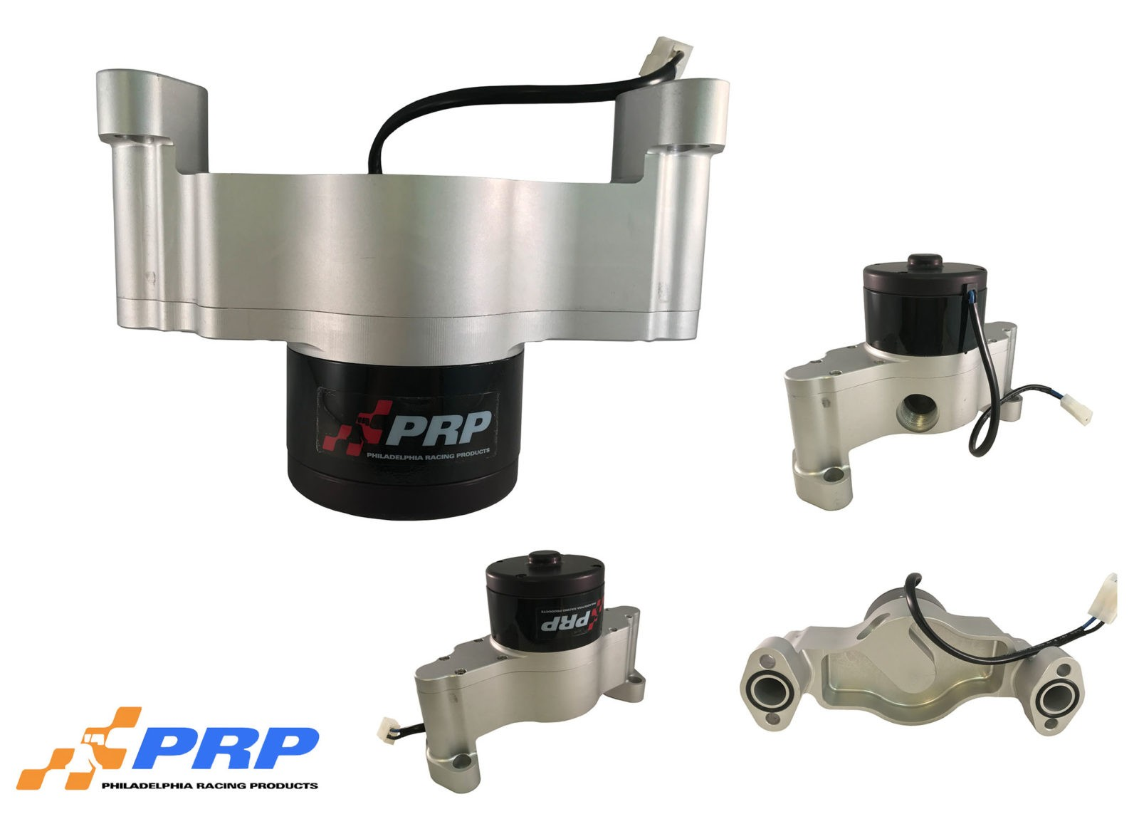 Group Shot of Clear Small Block Chevy Electric Water Pump made by PRP Racing Products