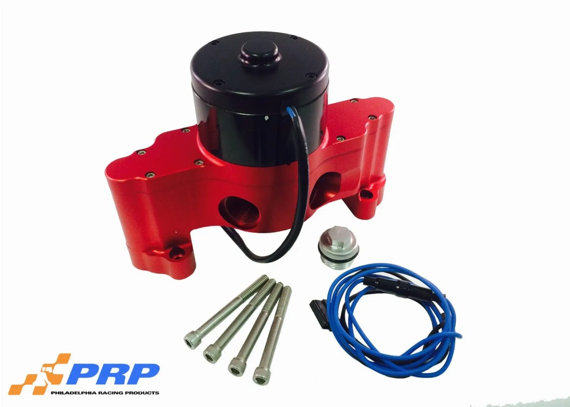 Red and Black Ford Electric Water Pump made by PRP Racing Products